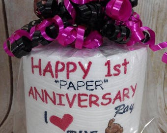 Persoanlized - Custom - Embroidered 1st Anniversary Toilet paper - first anniversary - funny anniversary - embroidery - humor gift