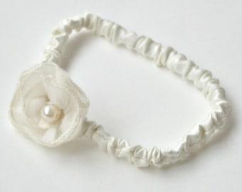 VENTE - mariage jarretière crème/Ivoire souvenir jarretière mariée avec rosette d'organza de soie