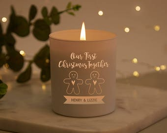 First Christmas Together Personalised Candle Girlfriend Boyfriend Gift