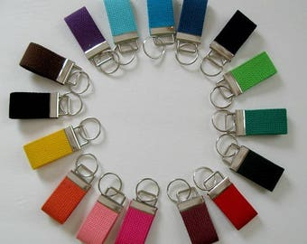Mini Key Fob Solid Color - Great for Color Coding - Heavyweight Webbing Key Chain - Choose Color - Small Keychain - Solid Zipper Pull