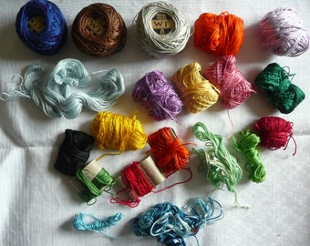 various coils of pearl, cotton yarns various falls diffrerent lengths - french haberdashery for crafts and embroidery