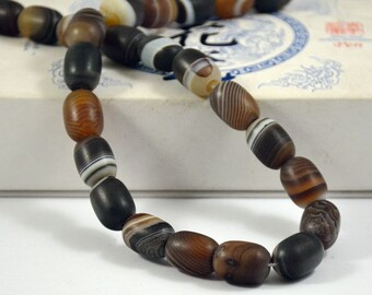 Barrel bead Scrub Coffee Color Agate Beads ----- 12mm x16mm ----- 25Beads, Agate beads