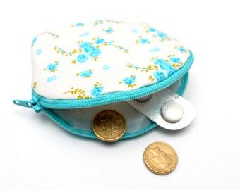 Baby Blue Floral Zipper Coin Purse
