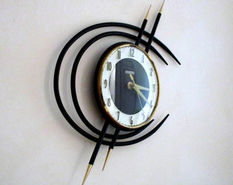 French 1950-60s Atomic Age BAYARD Wall Clock - Golden Spikes Metal Rings or Planets - Perfect Working Condition - Mid Century Decor Chic