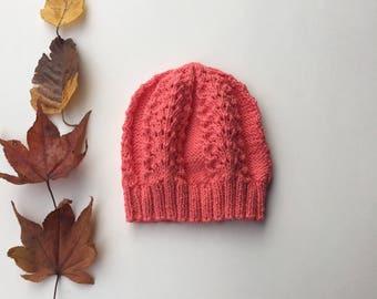Knitted Hat for Autumn // Handmade Beanie Cap