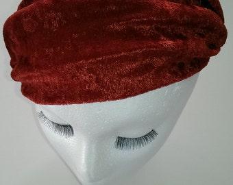Red/rust velvet turban headband for ladies