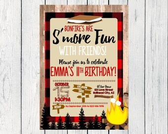 Bonfire S'mores Birthday invitation ***Digital File*** (Smores-Lumber)
