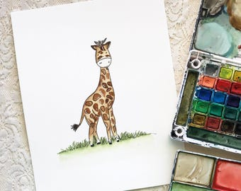 Watercolor giraffe hand painted PRINT, printed to order, various sizes available, animal print