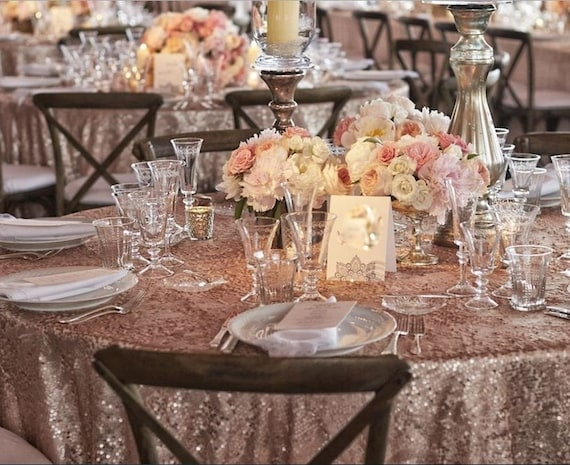 Dusty Rose Quartz Sequin Tablecloth Select Your Size Sequin