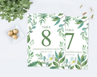 Customizable Greenery Table Numbers, Leaves Table Number Printable Wedding, Table Number Personalized Decor Editable Text Instant Download