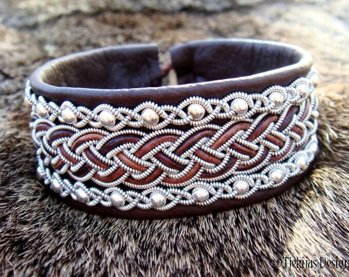 Viking Leather Cuff GERI Norse Sami Bracelet in Antique Brown with Sterling Silver Beads in Pewter Braids - Custom Handmade to Your Wishes