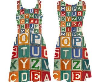 Vintage Alphabet Blocks Skater Dress - printed photographic childs wooden blocks alphabet - USA XS-3XL