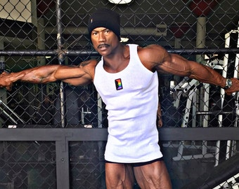 OUT is in USA Rainbow Door Ribbed Tank,Black or White,Boi beater tank,Lesbian beater tank,butch ribbed tank, pride wear,Gay wear,Pride Sale!