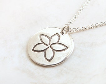 Small Plumeria Tropical Flower Necklace unique handmade charm in recycled fine silver on sterling chain