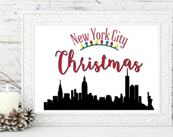 New York City Christmas Print - Gift idea for teacher, kids, mom, decorate for the holidays, Santa print, Christmas gift, Holiday gift