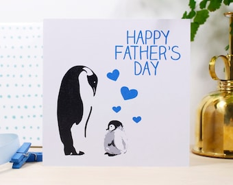 Happy Fathers Day Penguin Card - Fathers Day Card - Penguin Fathers Day Card - 1st Fathers Day card