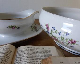 Saucière et Grand Saladier en porcelaine de Chatres-sur-Cher / Old French porcelain Gravy boat and Salad bowl