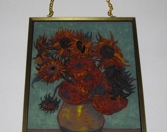 Vintage Glassmasters Stained Glass Sunflowers Window Hanging Suncatcher Vincent Van Gogh