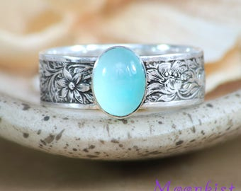 Aqua Promise Ring - Sterling Silver Aquamarine Ring - Aquamarine Gemstone Ring - March Birthstone Ring - Aqua Flower Ring - Size 7.5 Ring