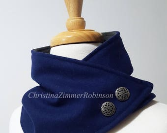 Royal Blue Fleece Lined Neck Warmer Snap Scarf with Silver Decorative Buttons, Neck Wrap, Collar, Snood, Neckwarmer, Winter Accessory