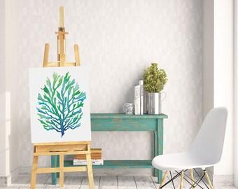 Blue Green Seaweed Watercolor Printable Art, Seaweed Printable Art, Digital Download Print, Seaweed print,  Seaweed painting, Beach Decor