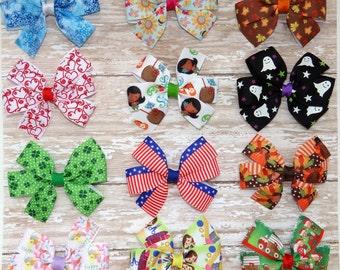 a year of hairbow, holiday hair bow, pinwheel hair bow, first birthday hair bow, seasonal hair bow