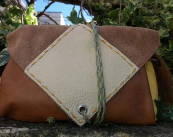 Handmade Tan/Cream Leather  Boho/Festival/Vintage Style Clutch Bag Handmade From 100% Recycled Materials