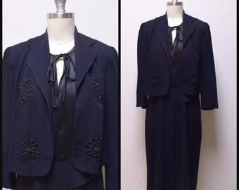 VINTAGE 1930s/40s LE VINE Originale Classic Black Rayon Crepe Beaded Dress Size S