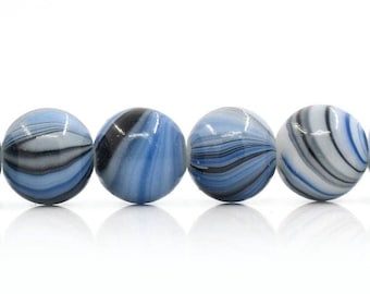 15 Glass Multicolor Beads with Tones of Blue Black and White 12mm - BD321