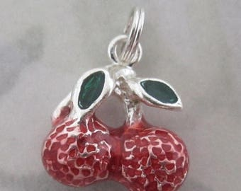 ON SALE Sterling silver 925 enameled cherries cherry fruit salad rockabilly charm - s29