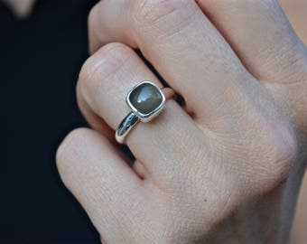 Grey Moonstone Ring, Grey Moonstone, Moonstone Ring, Moonstone, Cushion Cut, Cushion Gemstone, Cushion Moonstone Ring, Sterling Silver