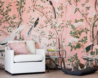 SALE Magnolia Mural - Large Floral, Pink Flower Wallpaper