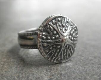 Seashell Bohemian Jewelry Silver Ring Starfish Sea Star Organic Sea Life