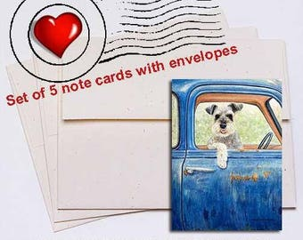 Schnauzer Ride Note Card Set