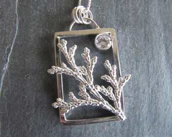 Cast Cypress and CZ Pendant in Sterling Silver
