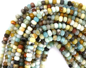 "8mm faceted amazonite rondelle beads 15.5"" strand 39289"