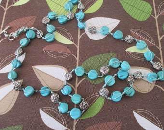 Long Turquoise  HOWLITE &  PEWTER  Necklace