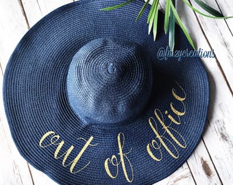 Out of the Office Floppy Hat   Personalized Floppy Hat   Out of Office Beach Hat   Honeymoon Beach Hat   Do Not Disturb Hat Vacation Hat RF