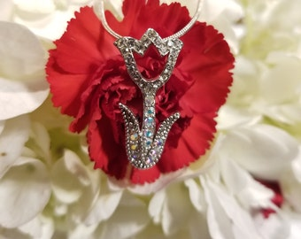 Silver minimalist tulip necklace