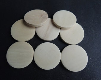 12 Pcs 35mm Natural Flat Wood Circles Wooden discs no hole (W940)