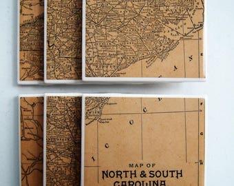 1890s North Carolina and South Carolina Handmade Vintage Map Coasters - Ceramic Tile Set of 6 - Repurposed 1890s Atlas