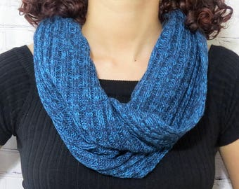 Blue infinity scarf, winter one wrap infinity scarf, Hand knitted loop, Cowl, women scarf, men scarf