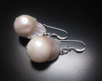Baroque Pearl Earrings, White Freshwater Baroque Nucleated Flameball Pearls, Pearl Earrings, White Pearl Jewelry, Pearl Jewelry