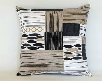 Mid century retro barkcloth abstract gold accent cushion cover