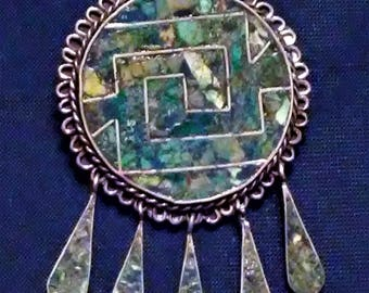 Vintage Mexican .925 Sterling Silver Abalone Pendant Brooch Pin with Teardrops