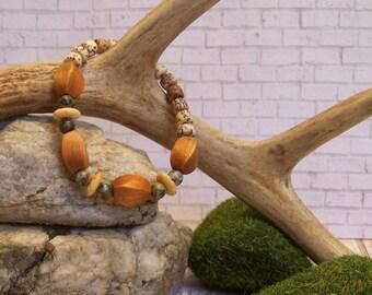 Evolution Bone, Gemstone, Nut, and Wood Bracelet
