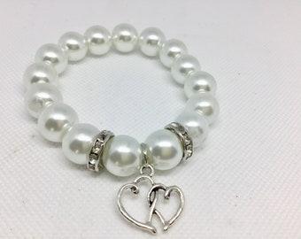 Pearl wedding bracelet - ivory pearl bracelet - maid of honor bracelet - wedding bracelet - pearl wedding jewelry - pearl charm bracelet