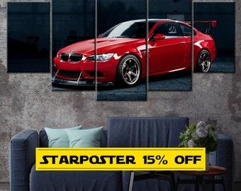 BMW M serises Car, Sport Car, Sport Car Canvas, Racing Car, Red BMW Print, Gift for Boys, BMW Canvas, Red Car, Wall Decor, Home Decor