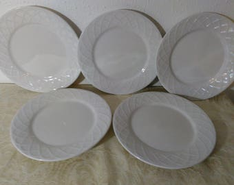 Set of Five (5) - Salad Plates in Picnic by Oneida - Basic White Elegance