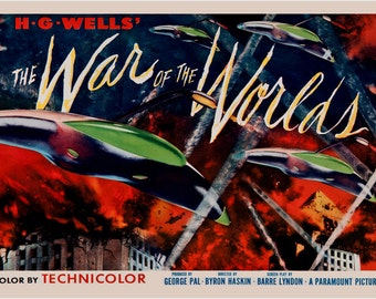 HG Wells' War Of The Worlds Movie Poster Classic Sci-fi Lights Space 24x36
